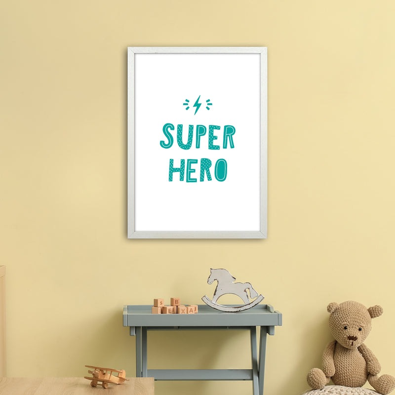 Super Hero Teal Super Scandi  Art Print by Pixy Paper A2 Oak Frame