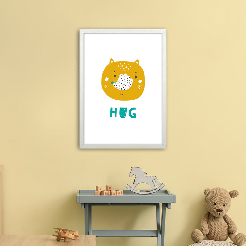 Fox Hug Teal Super Scandi  Art Print by Pixy Paper A2 Oak Frame