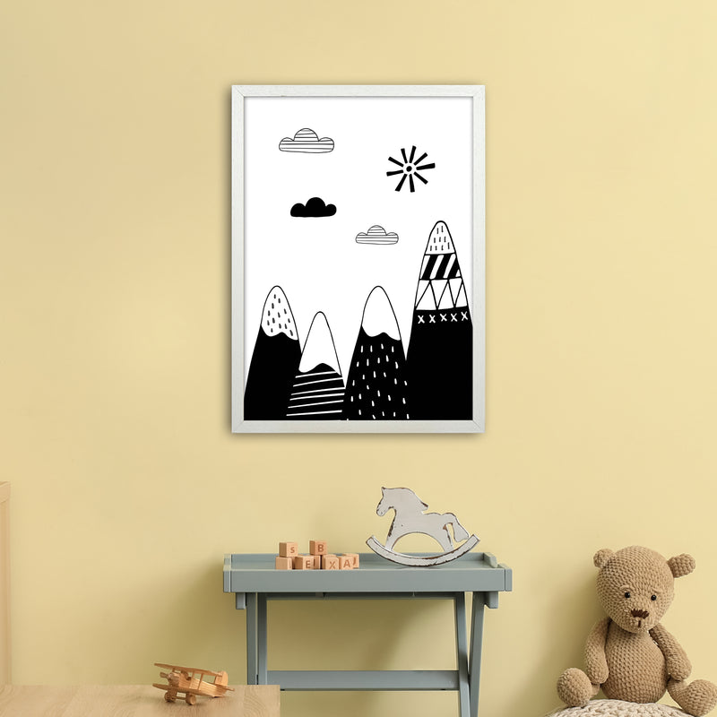 Scandinavian Mountains  Art Print by Pixy Paper A2 Oak Frame