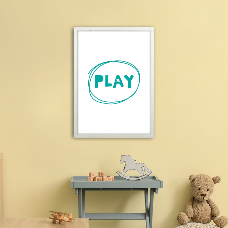 Play Teal Super Scandi  Art Print by Pixy Paper A2 Oak Frame