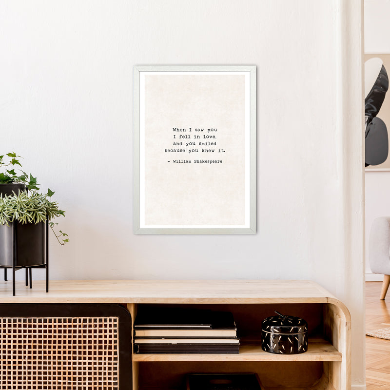 When I Saw You - Shakespeare  Art Print by Pixy Paper A2 Oak Frame