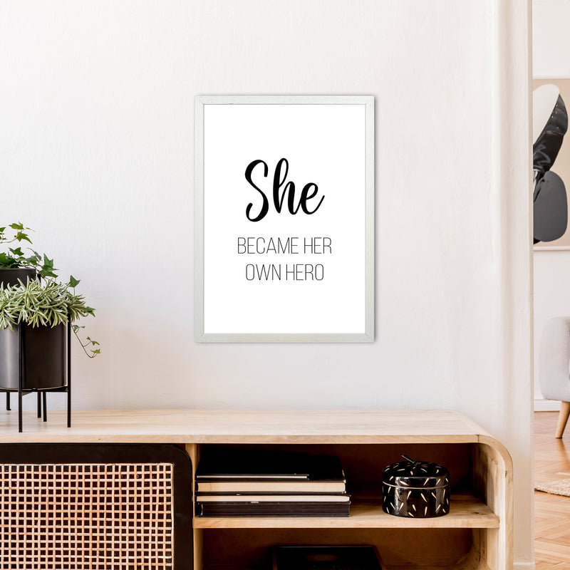 She Became Her Own Hero  Art Print by Pixy Paper A2 Oak Frame