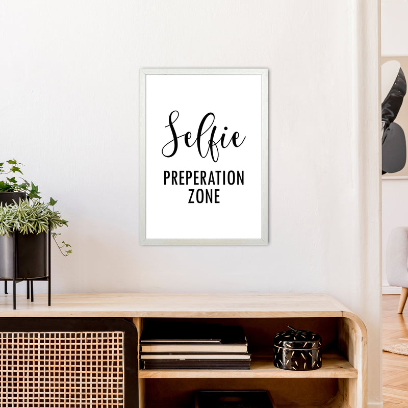 Selfie Preperation Zone  Art Print by Pixy Paper A2 Oak Frame