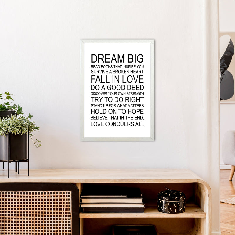 Dream Big Inspirational  Art Print by Pixy Paper A2 Oak Frame