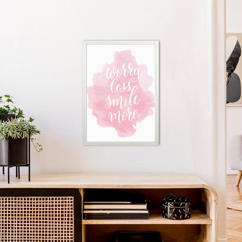 Worry Less Smile More  Art Print by Pixy Paper A2 Oak Frame