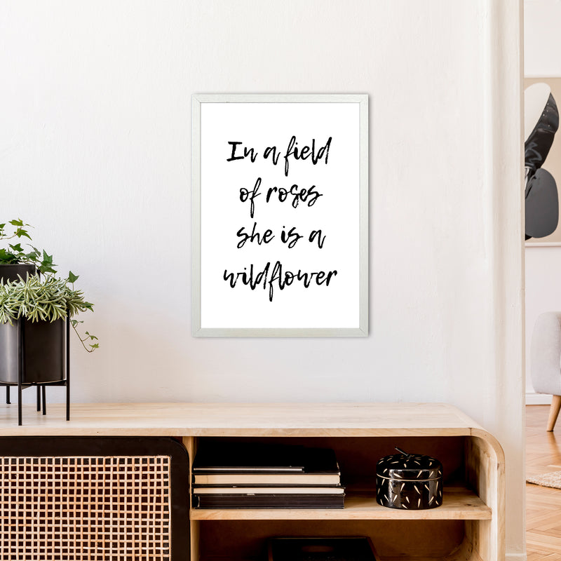 In A Field Of Roses  Art Print by Pixy Paper A2 Oak Frame
