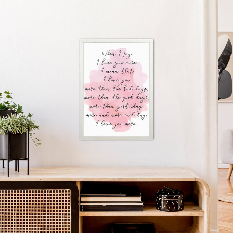 Love You More Pink  Art Print by Pixy Paper A2 Oak Frame