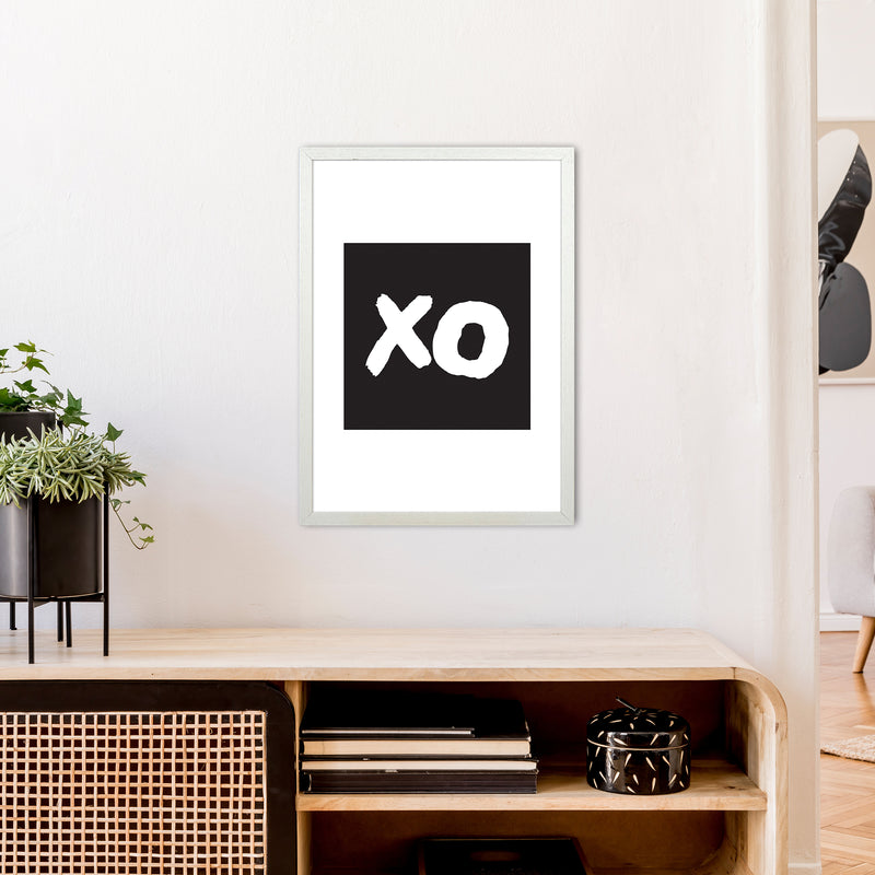 Xo Black Box  Art Print by Pixy Paper A2 Oak Frame
