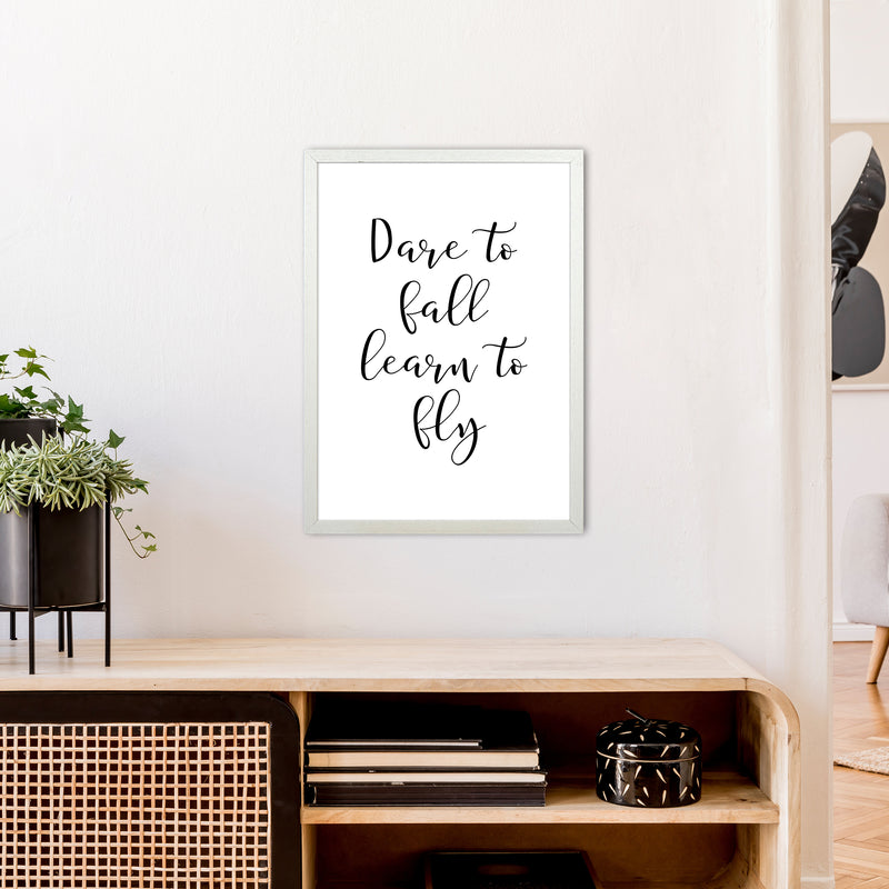 Dare To Fall  Art Print by Pixy Paper A2 Oak Frame