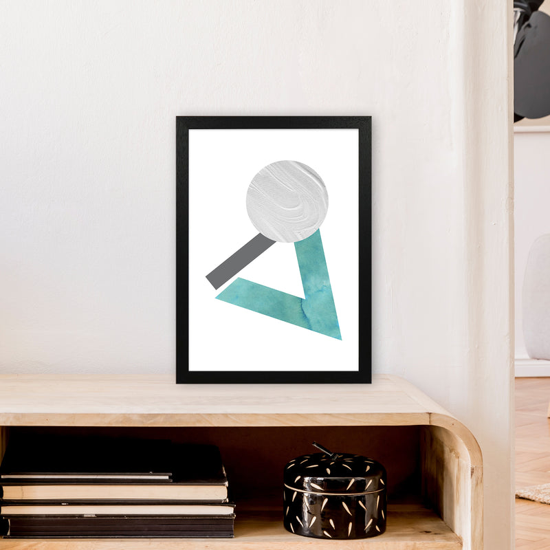 Marble Teal And Silver 3 Art Print by Pixy Paper A3 White Frame