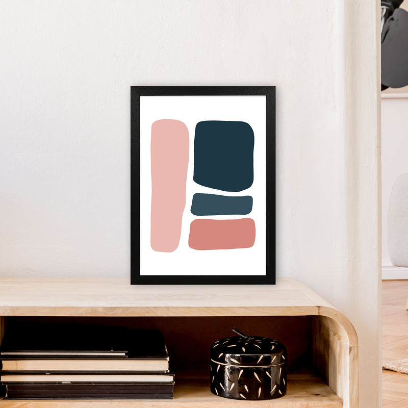 Pink And Navy Abstract Stones 3 Art Print by Pixy Paper A3 White Frame