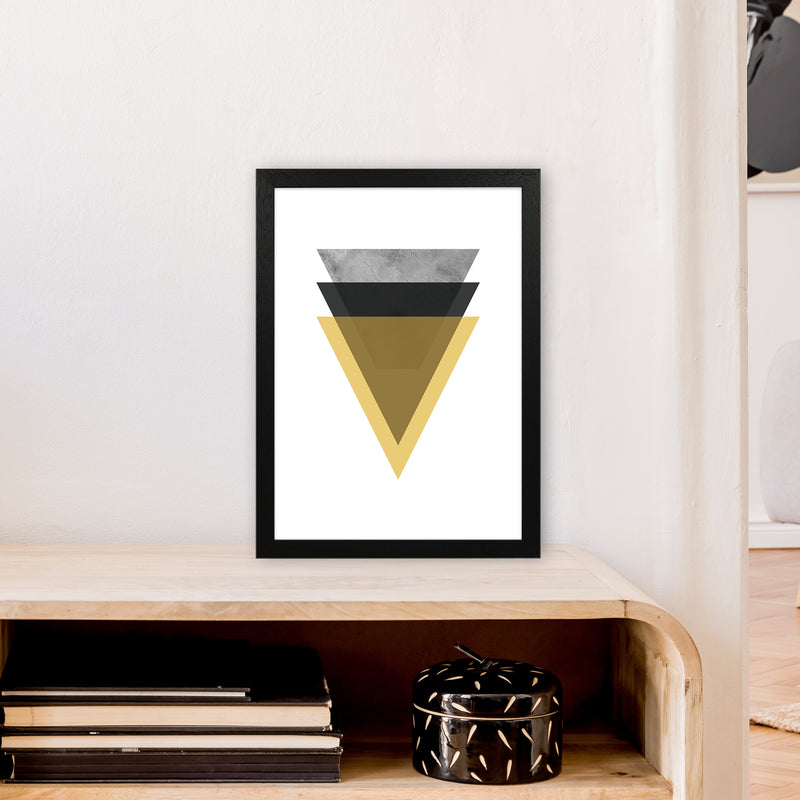 Geometric Mustard And Black Triangles  Art Print by Pixy Paper A3 White Frame