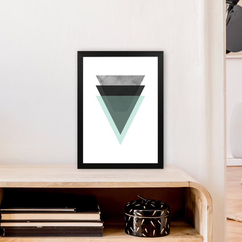 Geometric Mint And Black Triangles  Art Print by Pixy Paper A3 White Frame