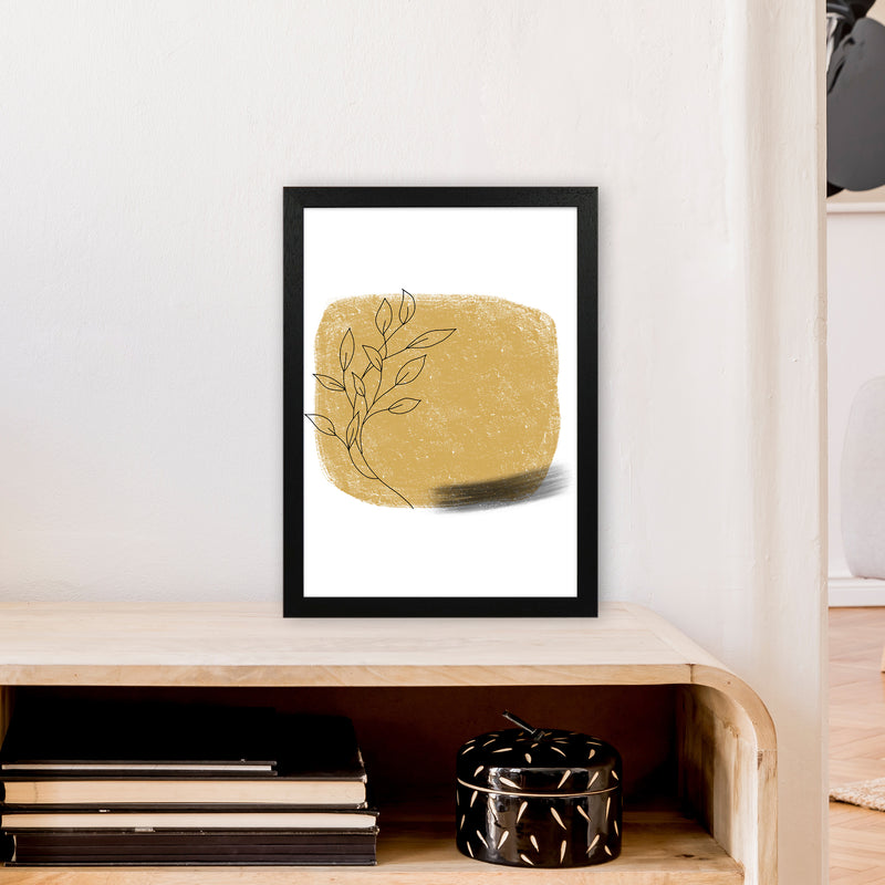 Dalia Chalk Gold Floral Square  Art Print by Pixy Paper A3 White Frame