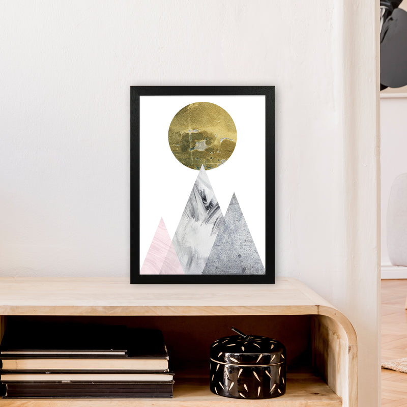 Luna Gold Moon And Mountains  Art Print by Pixy Paper A3 White Frame