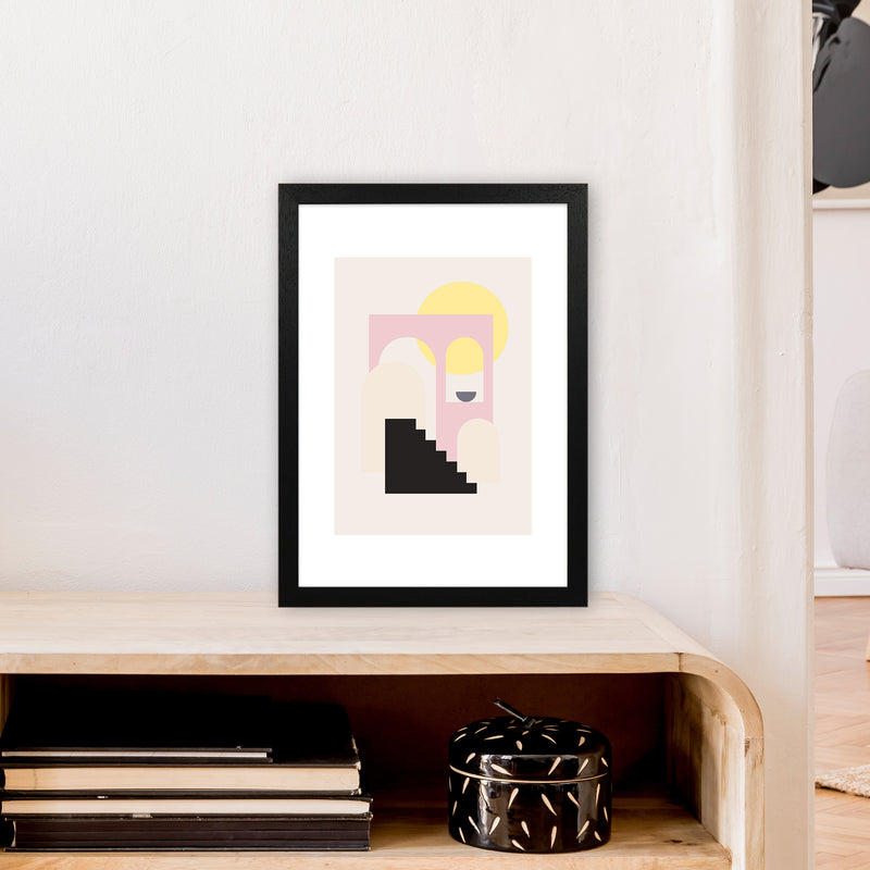 Mila Pink Stairs To Sun N6  Art Print by Pixy Paper A3 White Frame