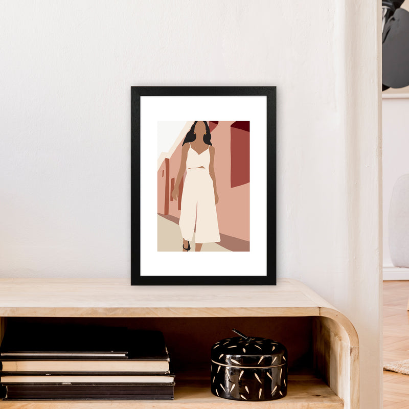 Mica Girl In Street N7  Art Print by Pixy Paper A3 White Frame