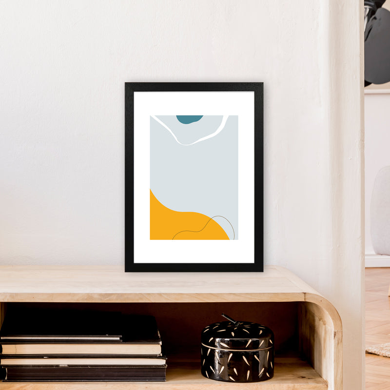 Mita Teal Abstract N21  Art Print by Pixy Paper A3 White Frame