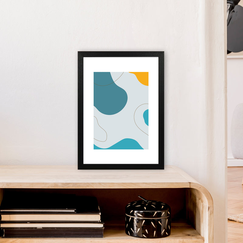 Mita Teal Abstract N16  Art Print by Pixy Paper A3 White Frame