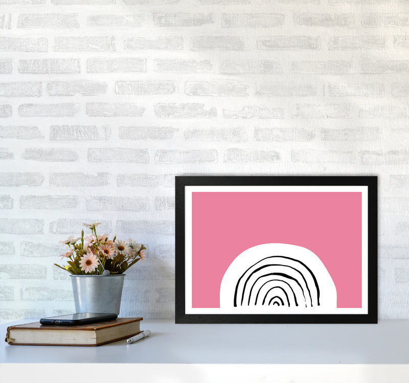 Pink Rainbow Neon Funk  Art Print by Pixy Paper A3 White Frame