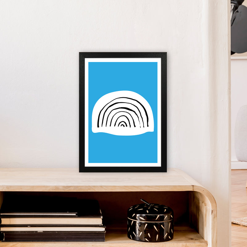 Blue Rainbow Neon Funk  Art Print by Pixy Paper A3 White Frame