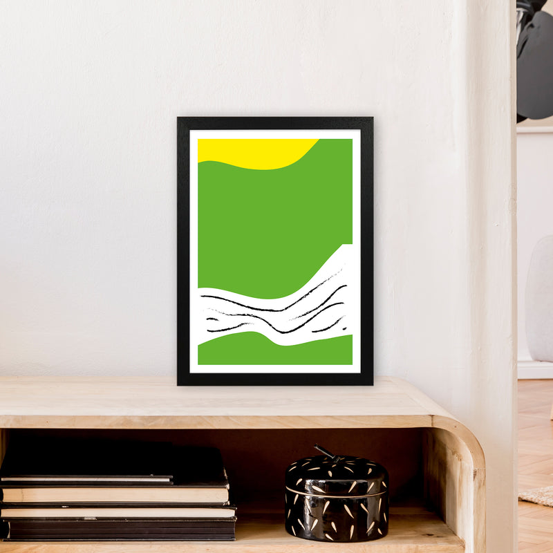 Green Lines Neon Funk  Art Print by Pixy Paper A3 White Frame