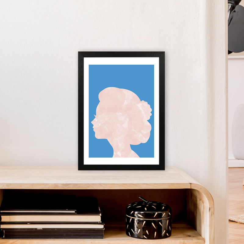 Marble Head Blue  Art Print by Pixy Paper A3 White Frame