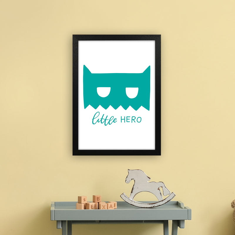 Little Hero Mask Teal Super Scandi  Art Print by Pixy Paper A3 White Frame