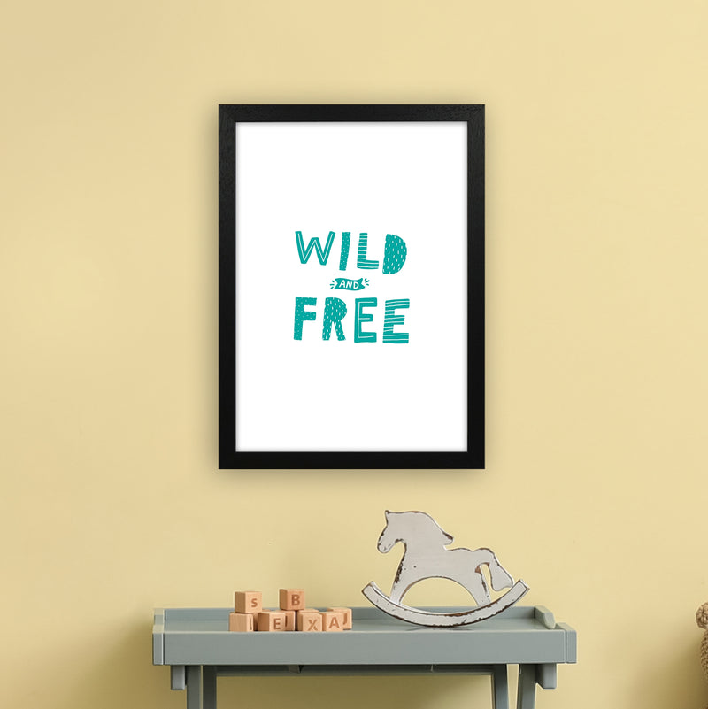 Wild And Free Teal Super Scandi  Art Print by Pixy Paper A3 White Frame