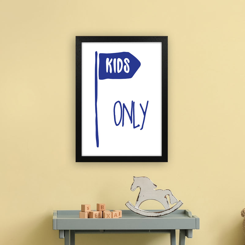 Kids Only Navy  Art Print by Pixy Paper A3 White Frame