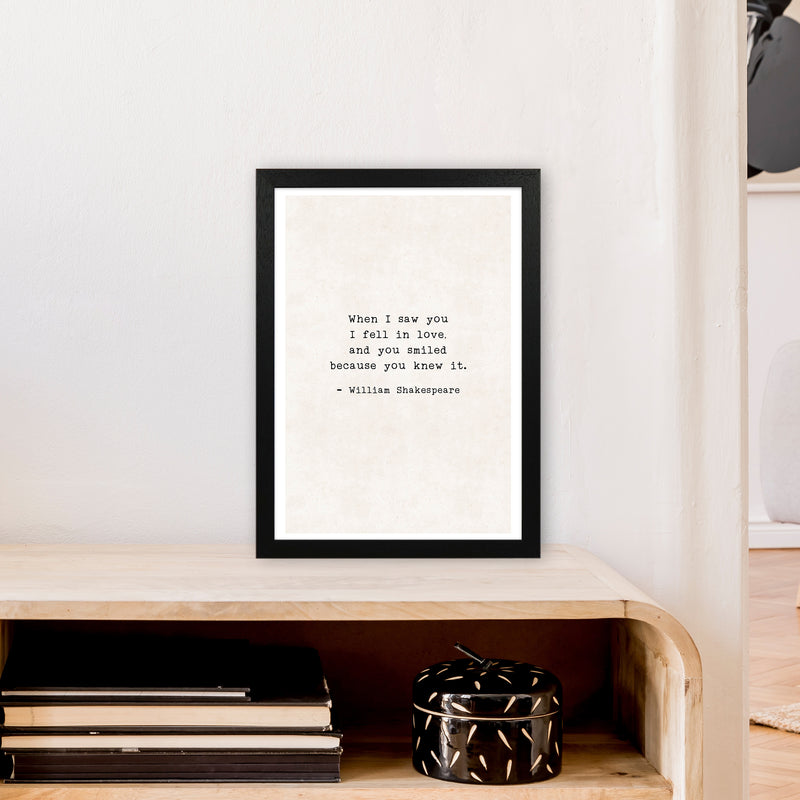 When I Saw You - Shakespeare  Art Print by Pixy Paper A3 White Frame