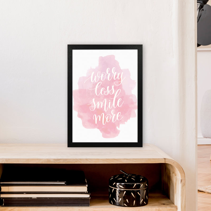 Worry Less Smile More  Art Print by Pixy Paper A3 White Frame