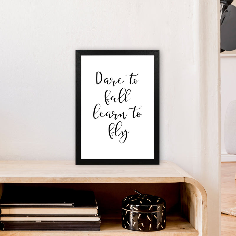 Dare To Fall  Art Print by Pixy Paper A3 White Frame