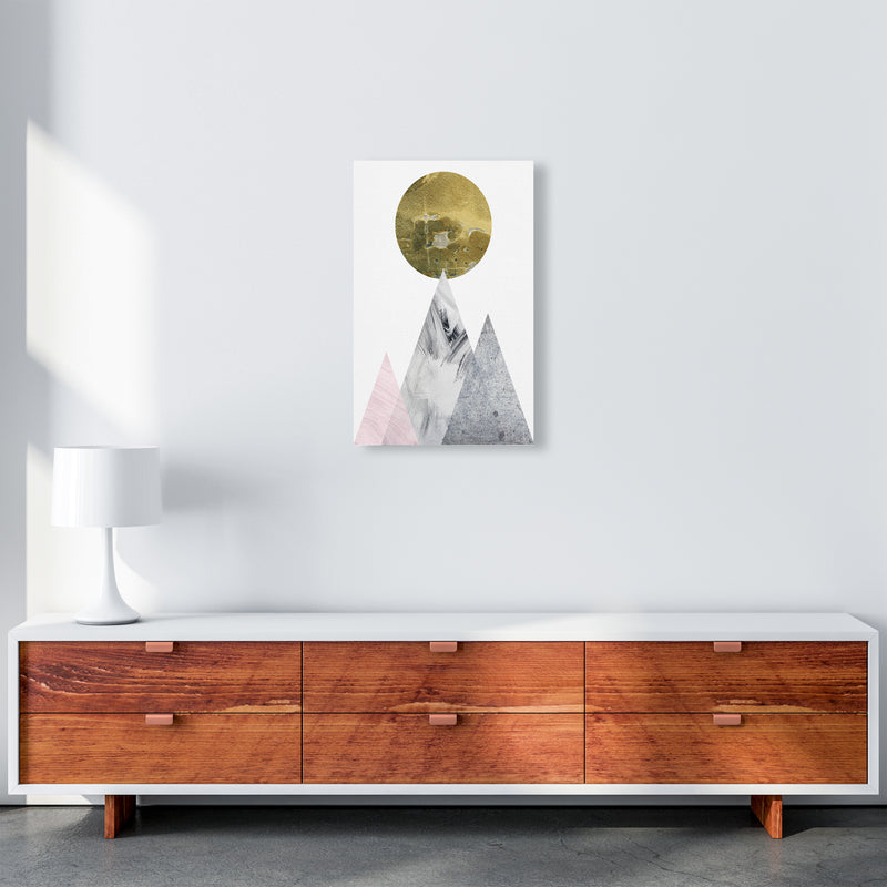 Luna Gold Moon And Mountains  Art Print by Pixy Paper A3 Canvas