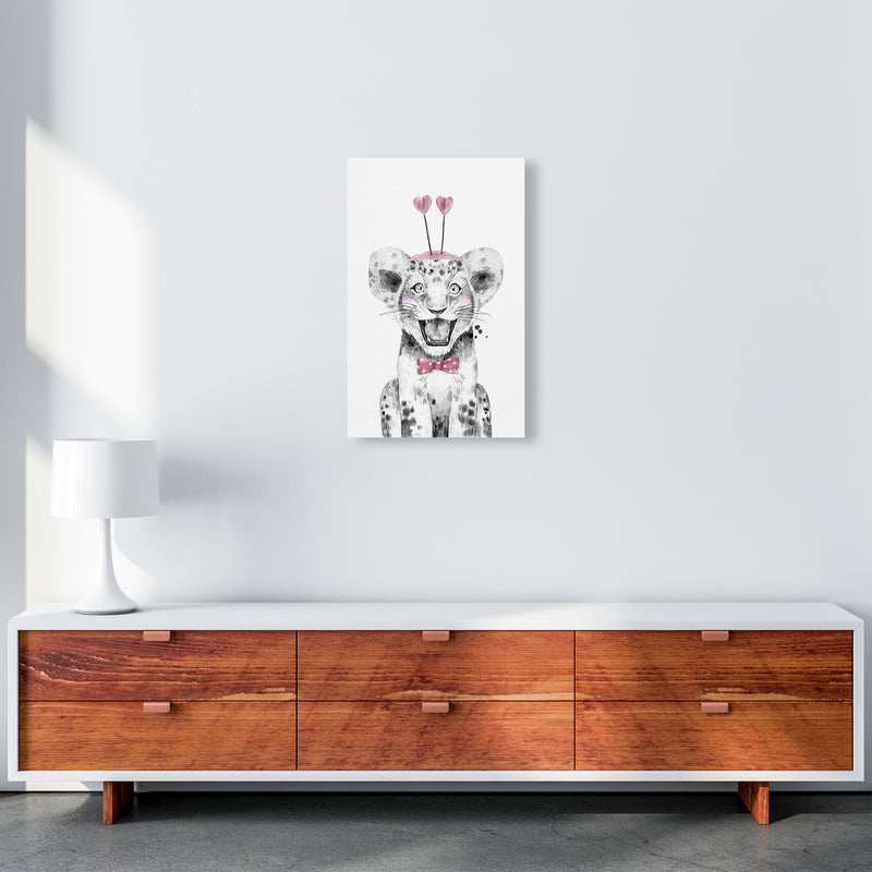 Safari Babies Tiger With Heart Hat  Art Print by Pixy Paper A3 Canvas
