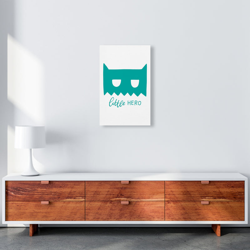 Little Hero Mask Teal Super Scandi  Art Print by Pixy Paper A3 Canvas