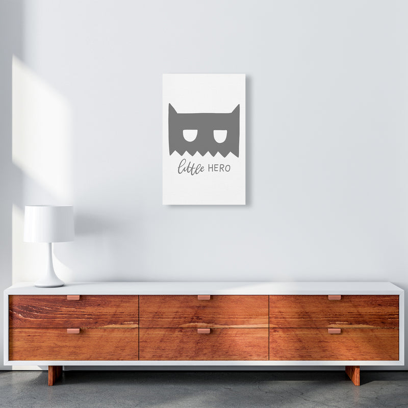 Little Hero Mask Super Scandi Grey  Art Print by Pixy Paper A3 Canvas
