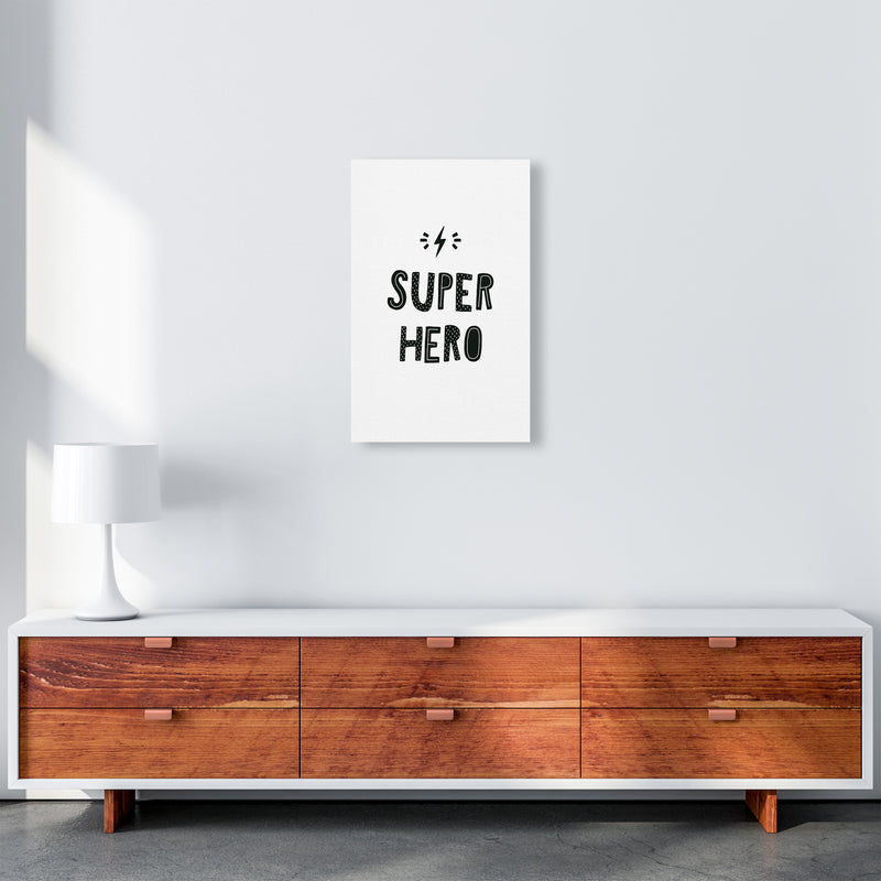Super Hero Black Super Scandi  Art Print by Pixy Paper A3 Canvas