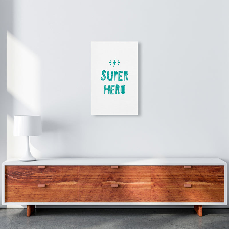 Super Hero Teal Super Scandi  Art Print by Pixy Paper A3 Canvas