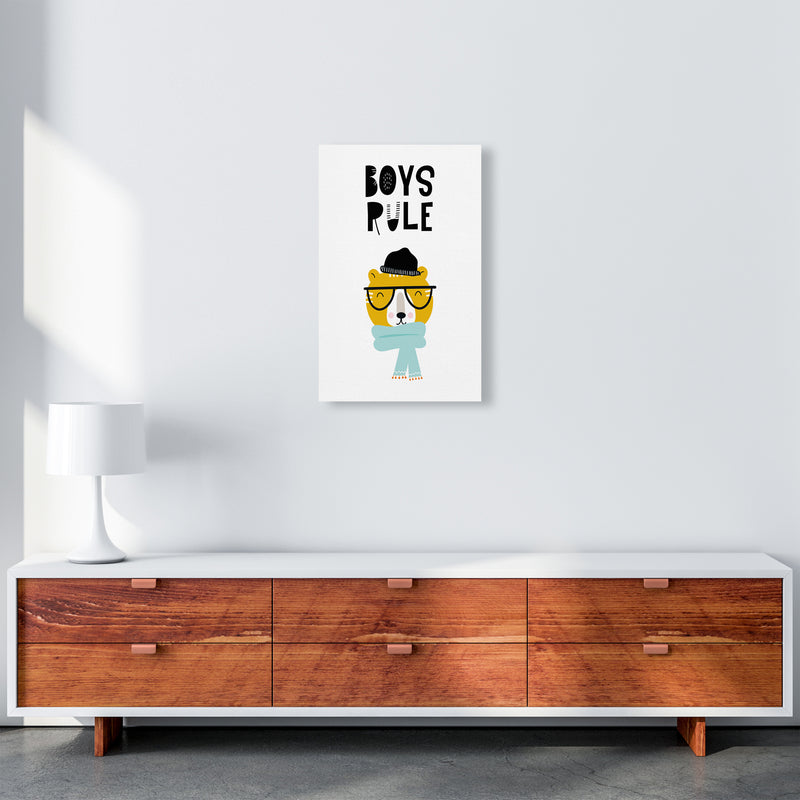 Boys Rule Animal Pop  Art Print by Pixy Paper A3 Canvas
