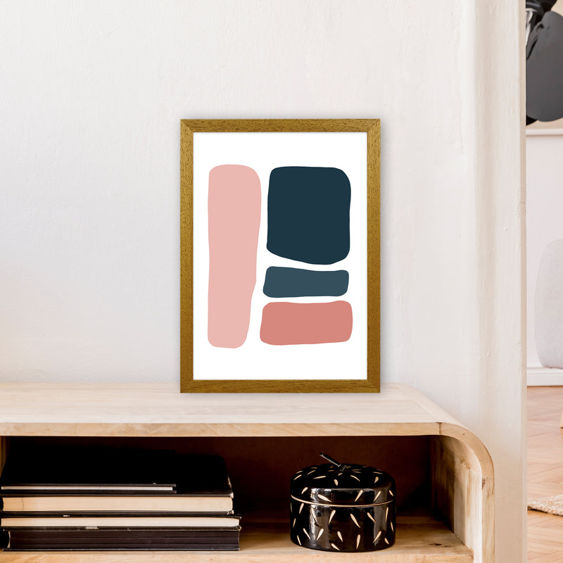 Pink And Navy Abstract Stones 3 Art Print by Pixy Paper A3 Print Only