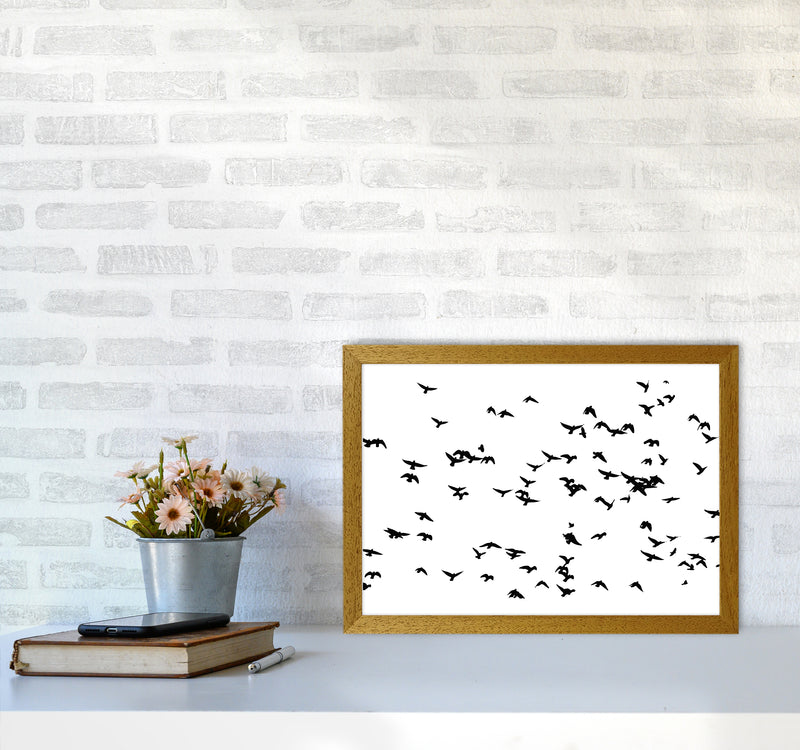 Flock Of Birds Landscape Art Print by Pixy Paper A3 Print Only