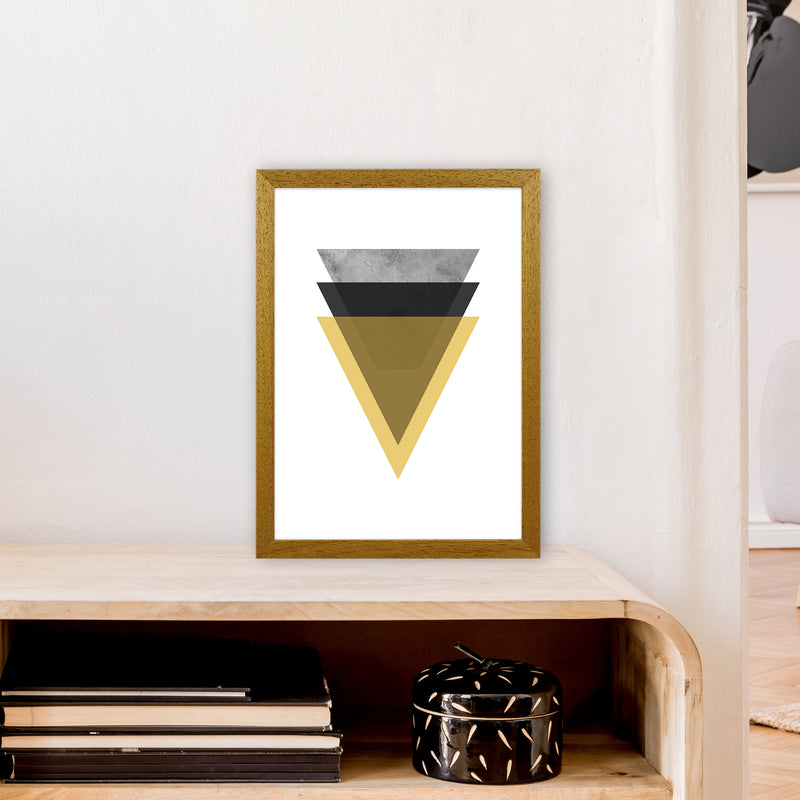 Geometric Mustard And Black Triangles  Art Print by Pixy Paper A3 Print Only