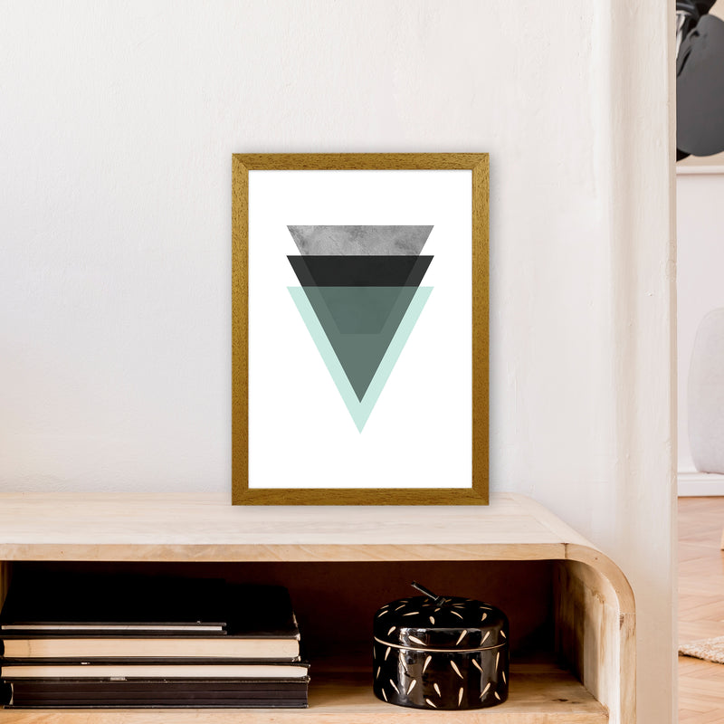 Geometric Mint And Black Triangles  Art Print by Pixy Paper A3 Print Only