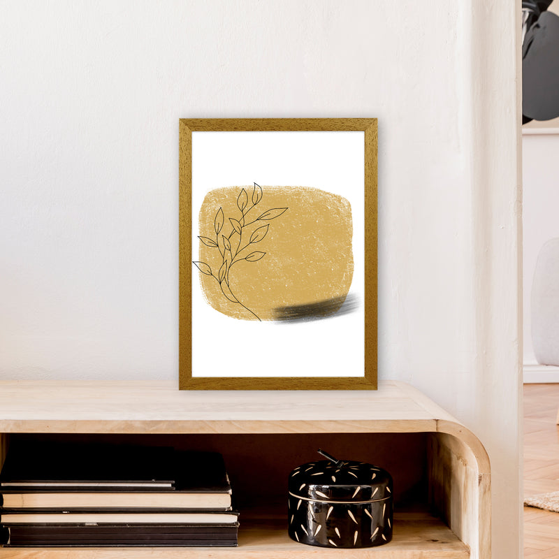 Dalia Chalk Gold Floral Square  Art Print by Pixy Paper A3 Print Only