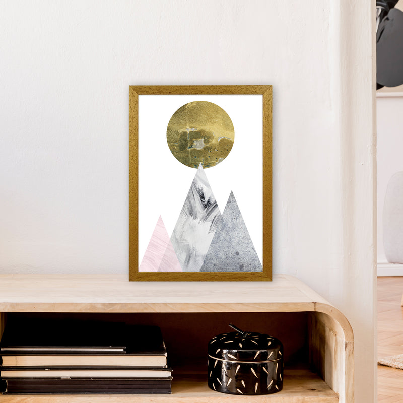 Luna Gold Moon And Mountains  Art Print by Pixy Paper A3 Print Only