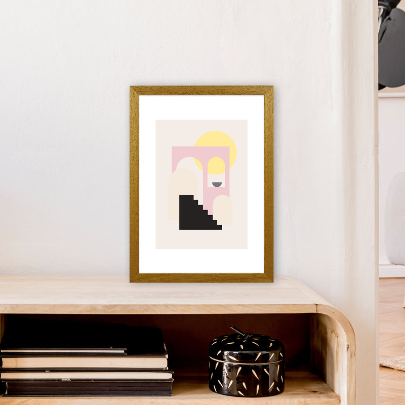 Mila Pink Stairs To Sun N6  Art Print by Pixy Paper A3 Print Only