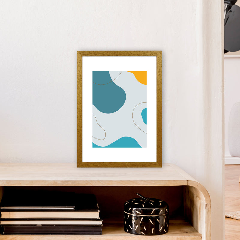 Mita Teal Abstract N16  Art Print by Pixy Paper A3 Print Only