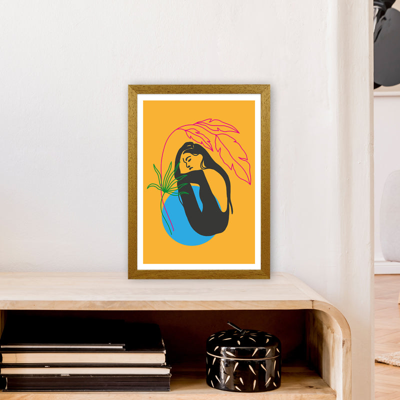 Girl Under Plant Yellow Neon Funk  Art Print by Pixy Paper A3 Print Only