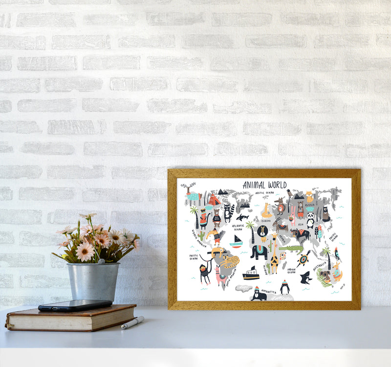 Animal World Map  Art Print by Pixy Paper A3 Print Only